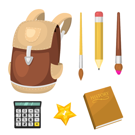 School supplies stationery educational backpack equipment learning office accessories vector illustration. Many materials student supply. Standard-Bild - 97381323