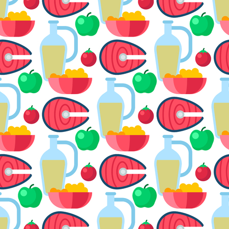 Healthy lifestyle diet porridge cerreal apple vegetables seamless pattern background vector illustration