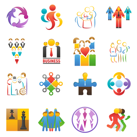 People team icons vector abstract group set teamwork union business badge network teammate partnership teamwork businessteams people illustration isolated on background