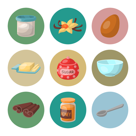 Baking pastry prepare cooking ingredients kitchen utensils homemade food preparation baker vector illustration. 写真素材 - 97539341
