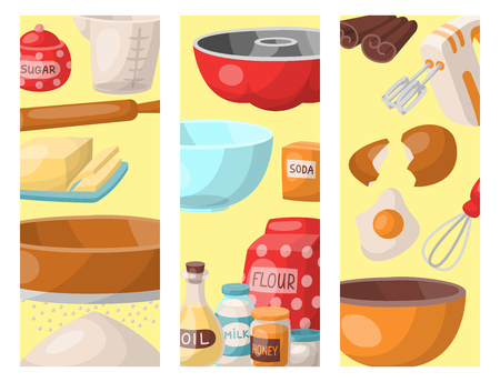 Baking pastry prepare cooking ingredients kitchen cards utensils homemade food preparation baker vector illustration. Çizim
