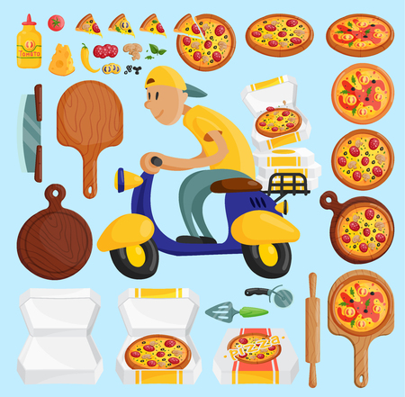Pizza delivery boy Italian pizzeria cartoon courier on motorbike and deliver dinner icon food box fast party meal scooter pizza in box transportation illustration Illustration