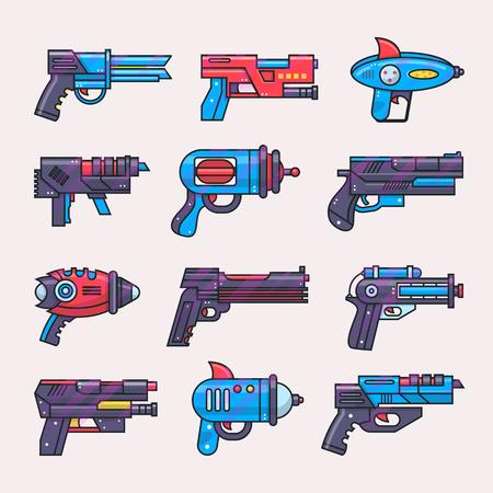 Pistola de dibujos animados vector toy blaster para juego de niños con pistola futurista y pistola de rayos de extraterrestres en el espacio ilustración conjunto de pistolas infantiles y arma láser aislado sobre fondo blanco