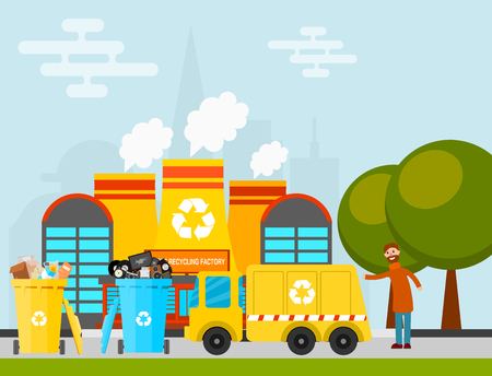 Waste recycling vector garbage process factory truck brought processing industry processed manufacturing production illustration. Ilustrace