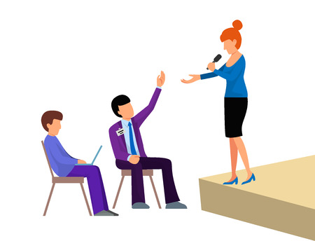 Business people vector groups presentation to investors conference teamwork meeting characters interview illustration.