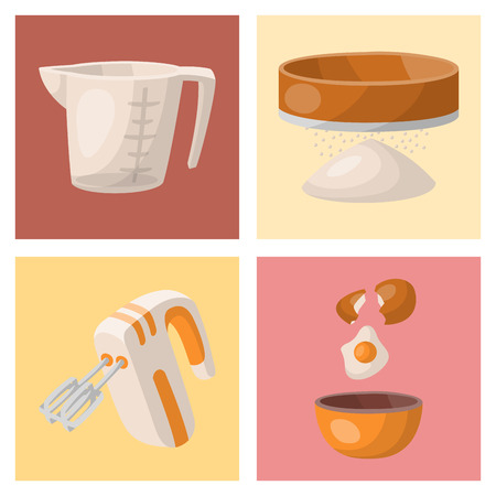 Baking pastry prepare cooking ingredients kitchen cards utensils homemade food preparation baker vector illustration. Illustration