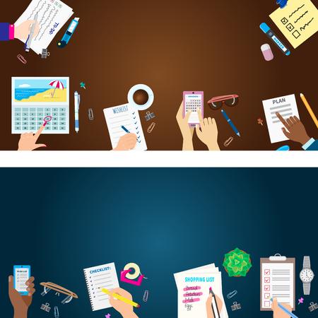 Agenda list banner concept vector illustration set Illustration