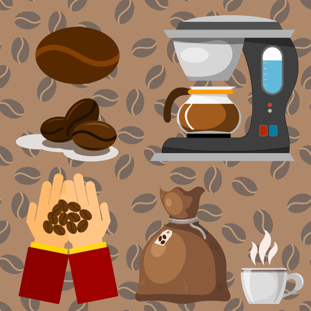 Coffee plantation beans drink cafe coffee-bean cocoa farmer plantation coffeemaker vector illustration Illustration