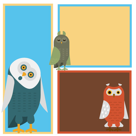 Cartoon owl bird cute character sleep sweet owlet cards vector illustration.