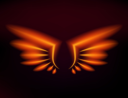 Flame bird fire wings fantasy feather burning blaze fly blazing danger flare glow fiery wings burn hot art vector illustration on black. Heat phoenix fantasy fire feather. Imagens - 97675098