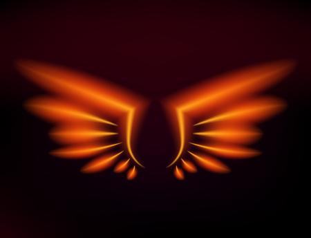Flammenvogel-Feuer beflügelt brennende Flammenfliege des Fantasiefeder-brennenden Gefahrenaufflackern-Glühens brennende Flügel brennen heiße Kunstvektorillustration auf Schwarzem. Hitzephoenix-Fantasie-Feuerfeder. Standard-Bild - 97675098
