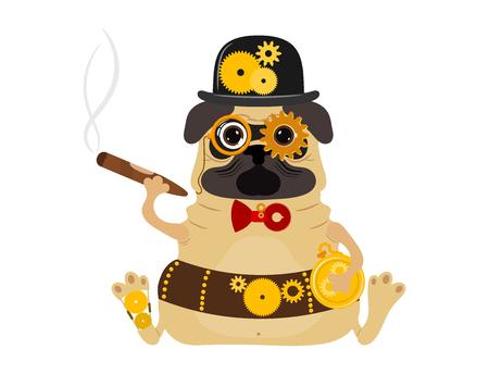 スタイリッシュな金属スチームパンクメカニックロボット犬
