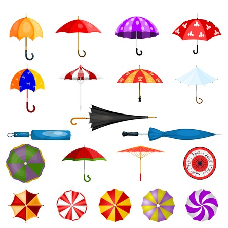 A Umbrella vector umbrella-shaped rainy protection open or closed and parasol illustration set of protective cover isolated on white background Banco de Imagens - 97711263