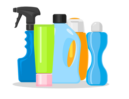 Household chemicals supplies and cleaning housework  bottle cleaner pack illustration. Illustration