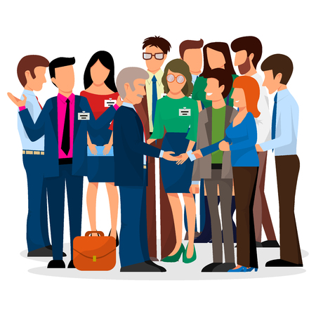 Business people vector groups presentation to investors conferense teamwork meeting characters interview illustration. Ilustração