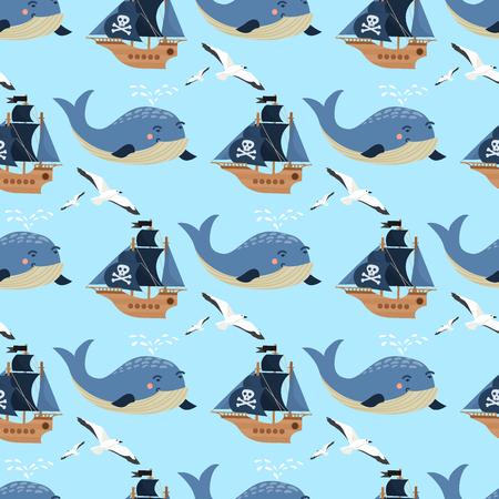 Bateau de bateau pirate et art miniature de baleine sur motif continu et illustration colorée.