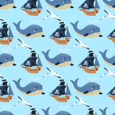 Pirate ship boat and whale miniature art on continuous pattern and colored illustration. Illustration
