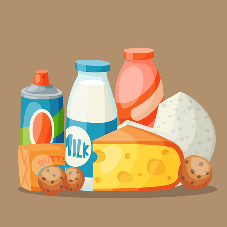 Milk dairy products in flat style illustration.