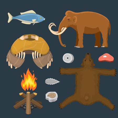 Stone age, primeval graphic elements concept.