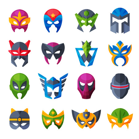 Hero mask vector superhero face masque and masking cartoon character illustration set of powerful masked symbol isolated on white background Ilustração