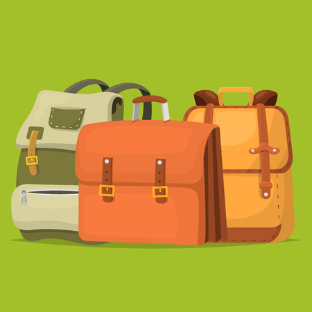 Back to School kids backpack vector illustration work time education baggage rucksack learning luggage.