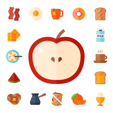 Breakfast food icons with drinks, bread, eggs and fruits.
