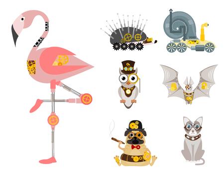 スタイリッシュな金属スチームパンク力学ロボット動物機械蒸気ギア昆虫パンクアート機械ベクトルイラスト。  イラスト・ベクター素材