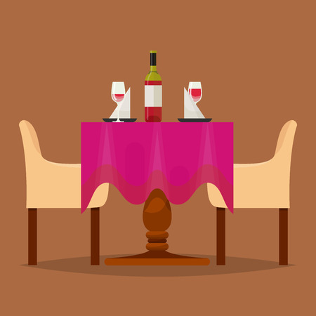 Dining tables in restaurant vector set lunch dinner date in cafe with glasses of wine Italian pizza Chineese food Oriental cuisine illustration isolated on background