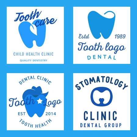 Tooth care dental clinic poster templates  with teeth.