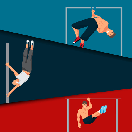 Horizontal bar chin-up strong athlete man cards gym exercise street workout tricks muscular fitness sport pulling up character vector illustration.
