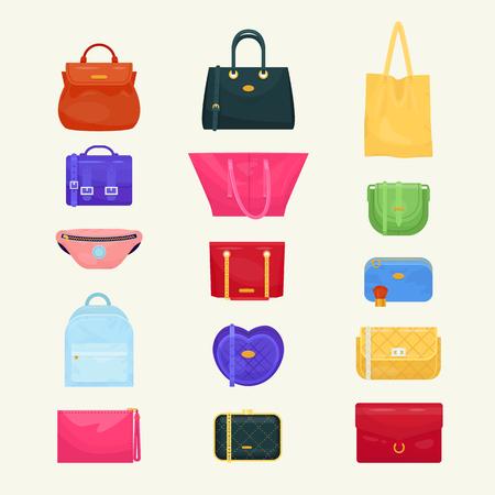 女性バッグベクターの女の子ハンドバッグや財布や買い物袋やバギーパッケージは、背景に隔離された買い物客のパッケージのセット
