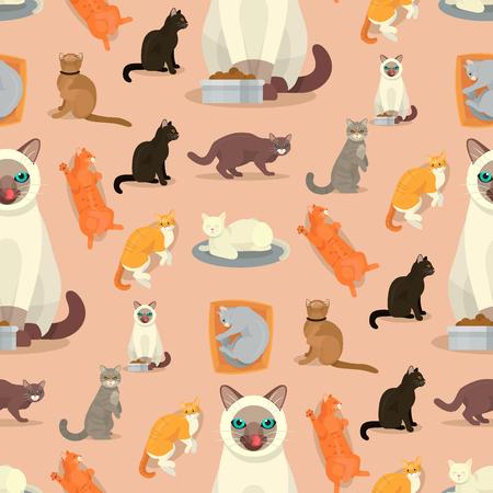 Cat breeds cute kitty pet cartoon cute animal cattish character seamless pattern background catlike illustration