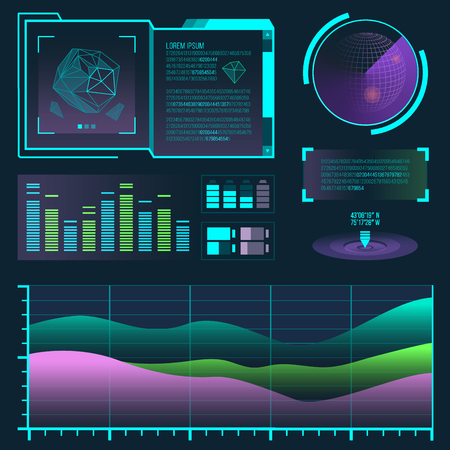 Futuristic interface space motion graphic infographic game and ui ux elements hud design graph wave bar hologram vector illustration. Tech and science analysis theme. Illustration