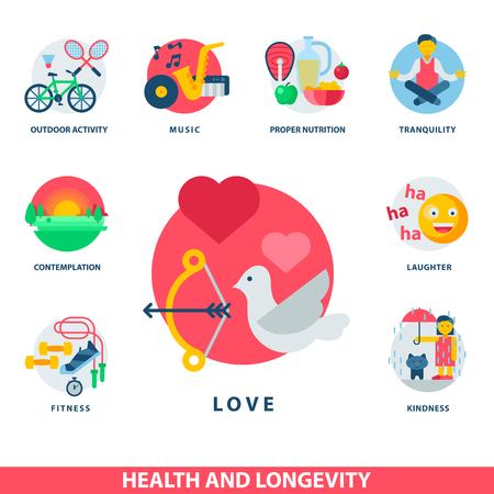 Gezondheid en levensduur pictogrammen moderne activiteit duurzaamheid vector natuurlijke gezonde leven product voedsel voeding illustratie