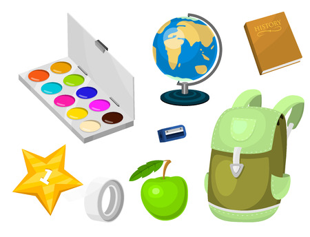 School supplies stationery educational backpack equipment learning office accessories vector illustration. Çizim