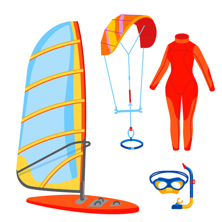 Fun water extreme sport kiteboarding surfer sailing leisure sea activity summer recreation extreme vector illustration. Surfing nature kayaking tools.