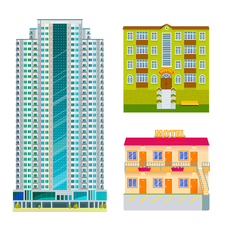 Hotels buildings tourist travelers places modern city vacation time home apartment. Illustration