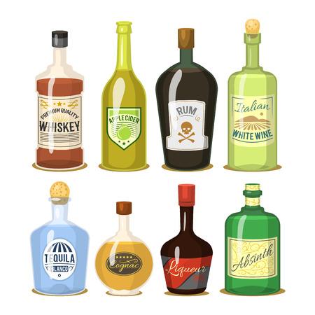 Alcohol strong drinks in bottles cartoon glasses whiskey cognac brandy wine vector illustration Stock Vector - 97900224