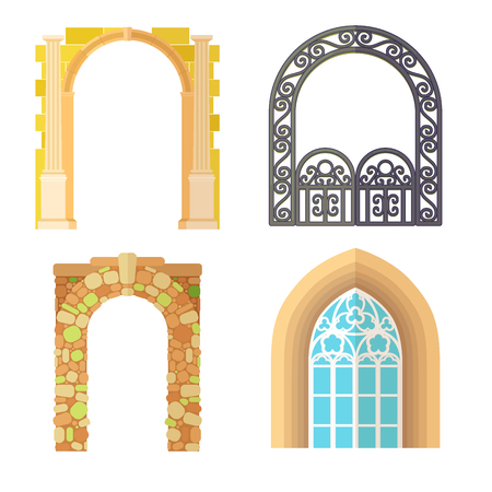 Arch design architecture construction frame classic, column structure gate door facade and gateway building ancient construction vector illustration.  イラスト・ベクター素材