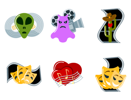 Cinema genre icons set cinematography flat entertainment comedy drama thriller movie production symbol vector illustration. 向量圖像