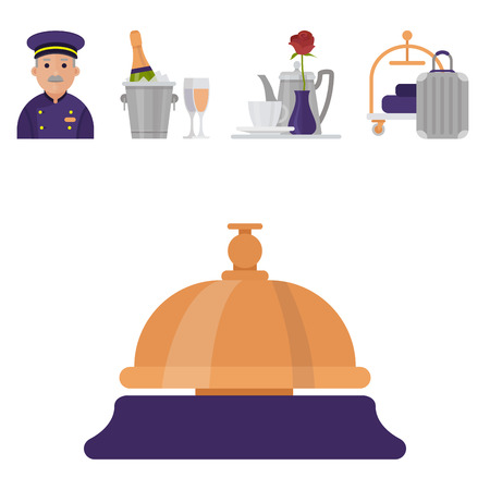Hotel workers personal professional service man and woman job uniform objects hostel manager vector illustration. Receptionist travel tourism household tools.
