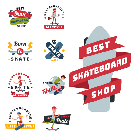 Skateboarders people tricks silhouettes badge sport extreme action active skateboarding urban young jump person vector illustration.