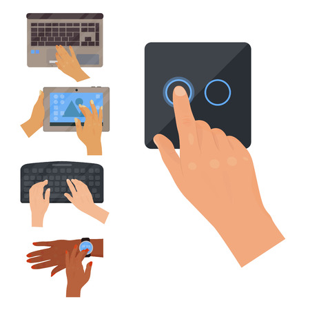 Users hands on keyboard computer touch gestures technology internet work swipe typing tool vector illustration. Electronics editing pad with people hand. Stock Vector - 97893606