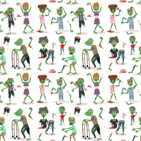 Colorful zombie scary cartoon halloween magic people body green character seamless pattern. Иллюстрация