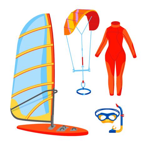 Fun water extreme sport kiteboarding surfer sailing leisure sea activity summer recreation extreme vector illustration. Stock Vector - 97991589