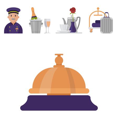 Hotel werknemers persoonlijke professionele service man en vrouw baan uniform objecten hostel manager vector illustratie.