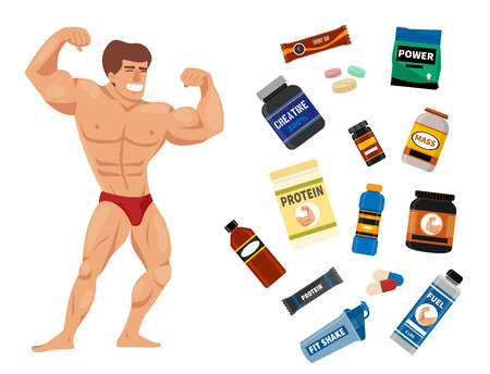 Bodybuilders gym athlete and sport food diet symbols fitness nutrition protein powder drink vector illustration.