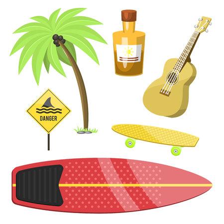 Surfing active water sport surfer summer time beach activities windsurfing jet water wakeboarding kitesurfing vector illustration.  イラスト・ベクター素材
