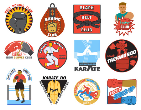 Boxing vector boxer character or fighter of karate-do or kickboxing on sportclub emblem illustration set of karate or fighting sign isolated on white background