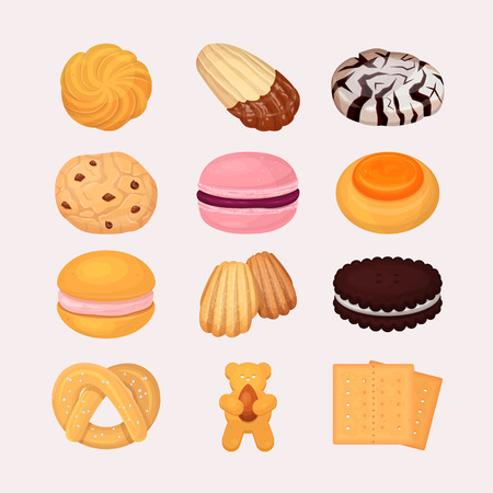 Cookie and biscuits vector baking pastry and baked cooking for breakfast in bakery illustration candy and biscuity cupcakes set isolated on white background